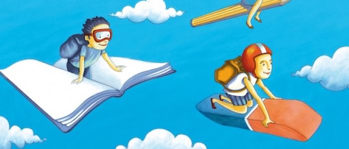 Bambini volano sui libri di scuola