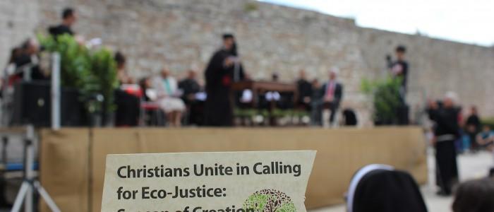 Un momento della preghiera ecumenica per la salvaguardia del creato ad Assisi