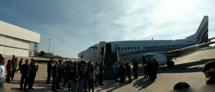 L'aereo atterrato a Roma per l'arrivo del corridoio umanitario dalla Libia