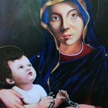 <p>Maria, Madre del perdono. Dipinto realizzato da Anaclerio, un ergastolano ostativo accolto presso il laboratorio Il Biancospino</p>