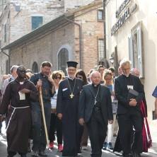 <p>Un momento della preghiera ecumenica per la salvaguardia del creato ad Assisi</p>